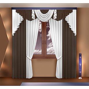 Комплект штор №777062, коричневый, белый