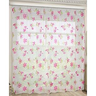 Тюль Лилии розовые
