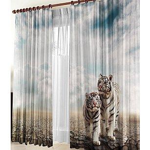 """Фотошторы габардин """"Белые тигры"""""""