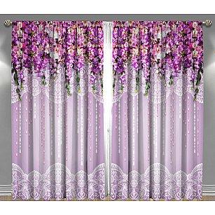 """Фотошторы габардин """"Волшебный сад"""", фиолетовый"""