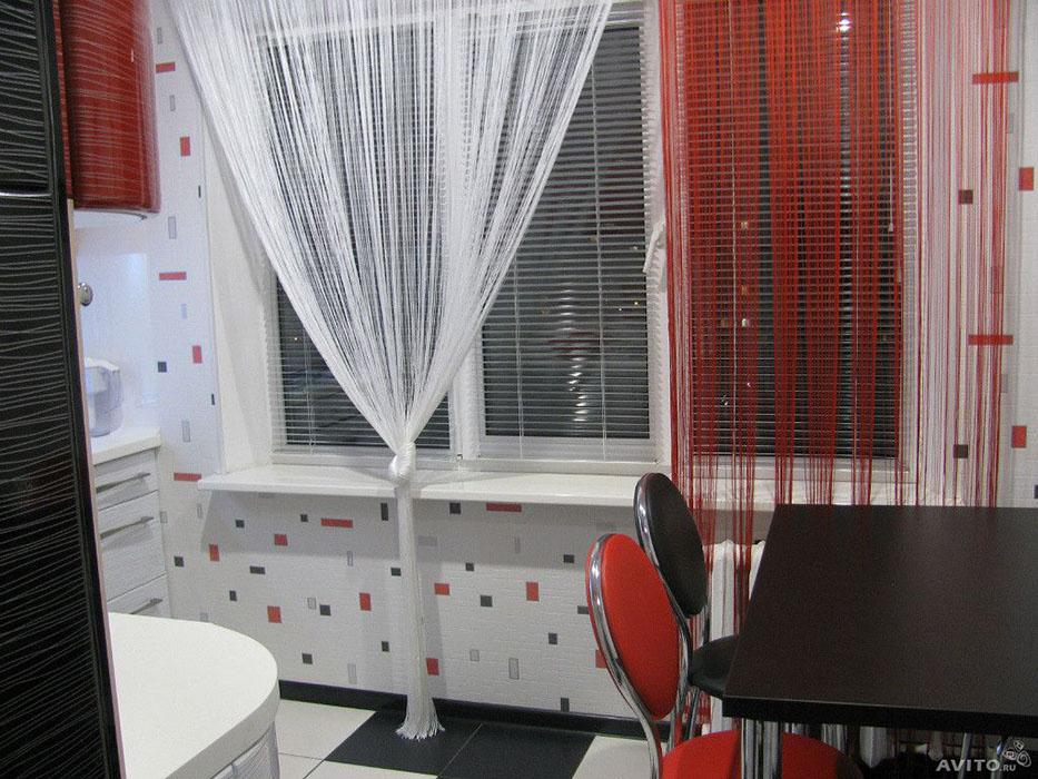 Нитевые шторы фото в интерьере кухни